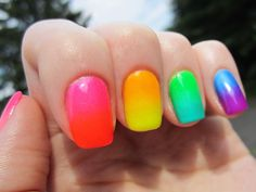 Neon Colored Nail Tips Check out these neon color