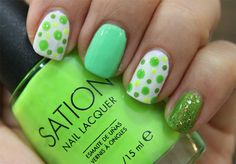Green Dotted Mani  #neon #nailart #polish - bellashoot.com
