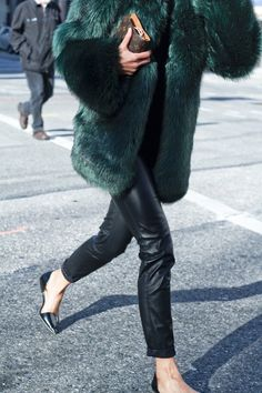 green faux fur, leather and lv