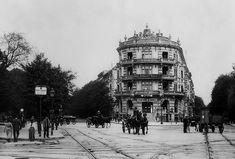 """Ernst-Reuter Platz 1901: Am """"Knie"""". Hotel und Restaurant Hippodrom. Links: Berliner Straße. Mitte: Kurfürstenallee, rechts: Hardenbergstraße. © Landesarchiv Berlin Fotograf: Waldemar Titzenthaler kleinere Fotos"""