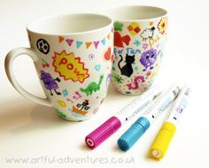 Doodle Decorated Mugs-what a great idea for a party activity and party favors. For wedding favors, leave them on the tables and everyone can add to ALL of them, then take one home. via Artful Adventures Diy Arts And Crafts, Arts And Crafts Supplies, Crafts For Kids, Diy Crafts, Sharpie Pens, Sharpies, Mug Decorating, Childrens Artwork, Christmas Gift Decorations