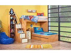 Dětský pokoj Miki P5 Originální a variabilní dětský pokoj Miki P5 české výroby s praktickým řešení úložného prostoru. Nábytek je vyroben z kvalitních eko dřevotřískových laminovaných desek (českého původu) v kombinaci síly 18 mm a … Bunk Beds, Furniture, Home Decor, Decoration Home, Double Bunk Beds, Room Decor, Home Furnishings, Bunk Bed, Arredamento