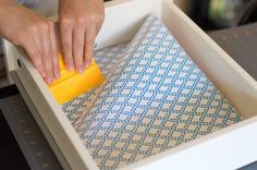 How To Line Kitchen Drawers & Shelves with Cheery Paper — Lessons from The Kitchn Lining Kitchen Cabinets, Kitchen Cabinet Liners, Kitchen Shelf Liner, Kitchen Cabinet Shelves, Inside Cabinets, Drawer Shelves, Drawer And Shelf Liners, Kitchen Storage, Contact Paper Cabinets