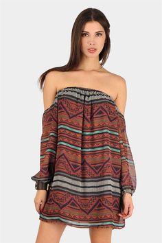 Over Your Shoulders Aztec Dress - Rust