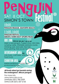On October 8th, the Southern African Foundation for the Conservation of Coastal Birds (SANCCOB) and South African National Parks (SANParks) are hosting the annual Penguin Festival at Boulders Beach in Simon's Town to celebrate African Penguin Awareness Day. The day is dedicated to raising worldwide awareness about the plight of the endangered African penguin, the only penguin endemic to the African continent.