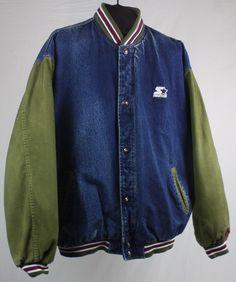 Starter Jacket Denim Men s XL Vintage 90s Hip Hop Grunge Bomber Varsity  Starter  90s Hip 91b3101de