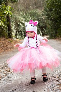 Whole Outfit 2 pcs Hello Kitty Baby and Little Girls Tutu and Crochet Hat Set Photo Prop Costume Lot Halloween U choose size via Etsy