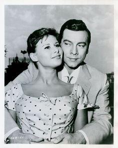 """Marisa Allasio and Mario Lanza in a promotional photo for Roy Rowland's """"Seven Hills of Rome"""" (1957)."""