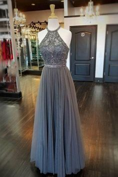 A-line Perlen langen Ballkleid Mode Hochzeit formelle Kleidung Schule Tanzkleid Kleider Halter Prom Dresses Long, Grey Evening Dresses, Grey Prom Dress, Evening Dresses Plus Size, Formal Dresses For Weddings, A Line Prom Dresses, Ball Dresses, Elegant Dresses, Dress Long