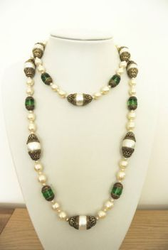 Vintage-Chanel-by-Goossens-green-gripoix-filigree-baroque-pearl-necklace-sautoir