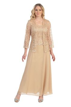"""A long sleeve lace jacket really make this dress beautiful. The top of the dress is lace and the skirt is a solid knee length. Neckline : Scoop Waistline : Natural Length : 56"""" Fabric : Poly-Lace/Chif"""