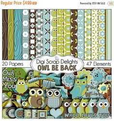 50% OFF TODAY SALE Owl Digital Scrapbooking Kit - Blue, Green, Brown Owl Clip Art & Owls Woodland for Birthday  Invites, Instant Download