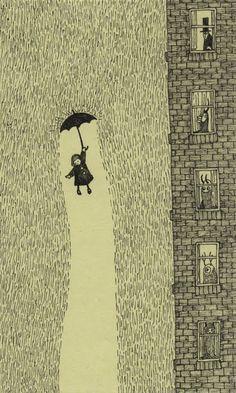 And the rain fell down. I love this illustration by Don Kenn. So charming. Art Inspo, Kunst Inspo, Inspiration Art, Art And Illustration, Monster Illustration, Art Illustrations, Arte Black, Edward Gorey, Arte Horror