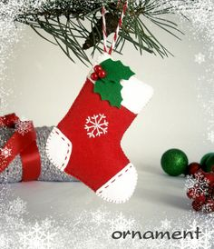 Decor Christmas Stocking ornament Christmas decor by MyMagicFelt