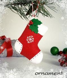 Christmas ornament Stocking felt ornaments Christmas tree ornaments felt…