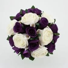 simple small bunches for bridesmaids..with the dark purple color I love!