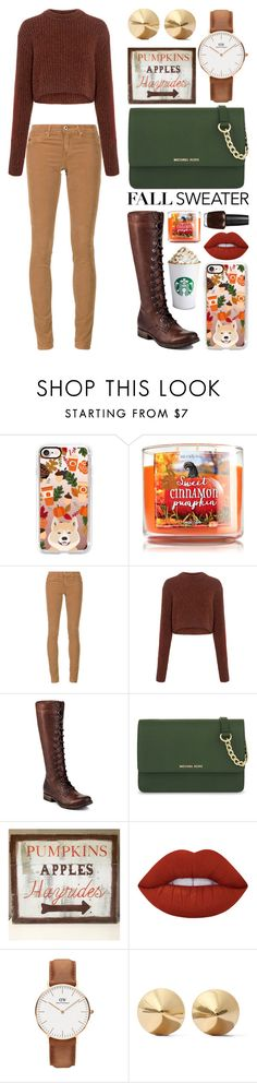 """""""Fall Crops"""" by meaganmuffins on Polyvore featuring Casetify, AG Adriano Goldschmied, TIBI, Frye, MICHAEL Michael Kors, WALL, Lime Crime, Daniel Wellington, Eddie Borgo and OPI"""