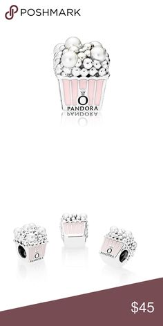Delicious Popcorn Charm, Pale Pink Enamel - Purchase over $75: comes with hinge box, I only have charm's box. No box available for bracelet/earrings.   - Purchase under $75: box available to purchase for $5 for comes with free Pandora pouch  - Please ask if you have any questions.  - We've shared the closet, so I'm in charge of Pandora rose and my friend in charge of silver charm. Pandora Jewelry Bracelets