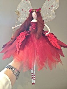 """Ruby Red"" tie-on Christmas Tree Fairy available from www.fabulousfairyfactory.co.uk"