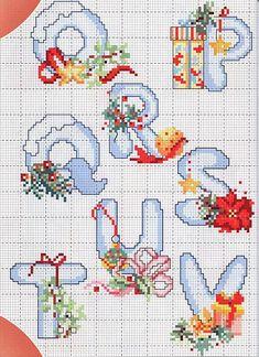Cross stitch Christmas alphabet on The Cedrus Christmas Cross Stitch Alphabet, Cross Stitch Letters, Cross Stitch Cards, Cross Stitching, Cross Stitch Embroidery, Christmas Letters, Cross Stitch Designs, Stitch Patterns, Embroidery Alphabet