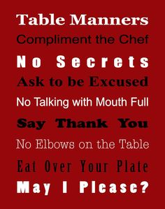 Free Table Manner Rules Printable