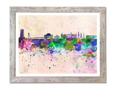 Bratislava skyline in watercolor background - SKU 0046    You can select the print quantity, size and finish of the print on the menu below the price.