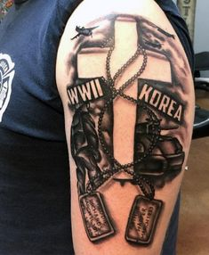 Army Dog Tags Tattoos On Men On Upper Arm Army Tattoos, Warrior Tattoos, Military Tattoos, Dad Tattoos, Tattoos For Guys, Tatoos, Schulterpanzer Tattoo, Dog Tags Tattoo, Norse Tattoo