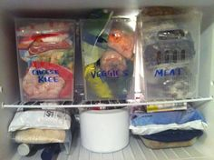 "My freezer organization using (3) Large ""multipurpose"" bins from The Container Store"
