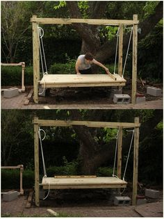 How to Build a Hanging Bed - Easy DIY Outdoor Swing Bed to Complete Your Backyard Goals I've always wanted a hanging bed! This outdoor swing bed is gorgeous and looks relatively easy to build! Outdoor Hanging Bed, Hanging Beds, Outdoor Swings, Outdoor Lamps, Outdoor Daybed, Outdoor Lighting, Diy Swing, Porch Swing, Outside Swing