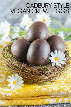 Vegan Cadbury Creme Eggs! A rich chocolate shell full of sweet, creamy fondant and a perfect yellow yolk! #cremeegg #cremeeggs #cadbury #cadburycopycat #cremeeggcopycat #vegan #easter #veganeastera