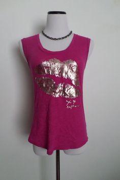 EXPRESS Pink Sleeveless T-Shirt Blouse Size XS #Express #GraphicTee