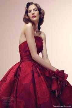 alessandra rinaudo bridal 2014 reddine red color wedding dress strapless