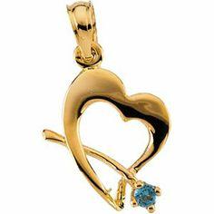 14K Gold Children's Genuine October Birthstone Pendant Religious. $151.95
