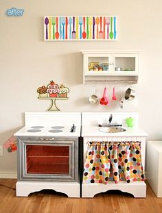 Kitchen set made out of repurposed night stands. wow! :) adorable! Better After: Kid n' Play