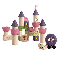 With the PlanToys Fairy Tales Blocks Set, your little one will love creating lots of & ever after& scenes. The colorful, various-shaped blocks are perfect for building different castle structures. Includes a prince figure and carriage for added fun. Wooden Castle, Childrens Shop, Wooden Building Blocks, Building Toys, Wood Blocks, Plan Toys, Non Toxic Paint, Creative Play, Imaginative Play