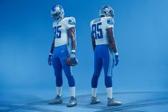 2017 Detroit Lions away uniforms featuring new striping pattern and letter stenciling on sleeves
