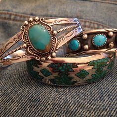 Just listed vintage Navajo cuffs for a great southwest boho style!