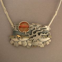 Necklace Detail | Ahlene Welsh. 'Sunset'. Sterling silver, 14k gold, cat's eye.