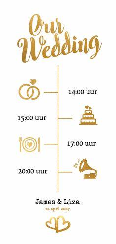 Our wedding goud langwerpig - BK - Trouwkaarten<br> Wedding Post Box, Our Wedding, Braut Make-up, Album Design, Social Platform, Wedding Invitations, Place Card Holders, Graphic Design, Products