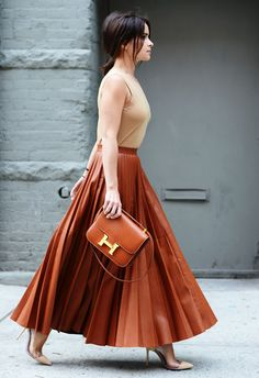 Spring '14 New York Fashion Week - rust colored Hermes and accordion maxi.