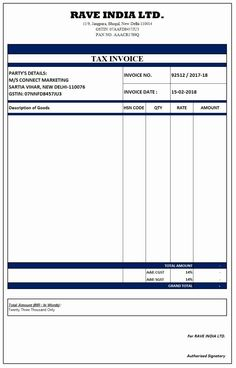 gst tax invoice template free GST Invoice Format in Excel, Word, PDF and JPEG (Format No. Microsoft Word Invoice Template, Invoice Format In Excel, Invoice Example, Printable Invoice, Resume Format, Sample Resume, Payroll Template, Receipt Template, Memo Format
