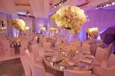 Wedding reception decor - white/ivory with pop of lavender