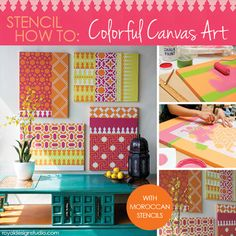 How to stencil colourful canvas art