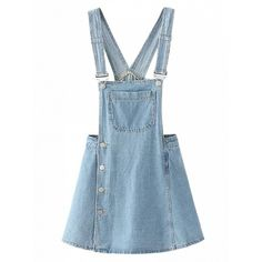 Choies Light Blue Side Button Overall Mini Dress (1.935 RUB) ❤ liked on Polyvore featuring dresses, skirts, bottoms, blue, short blue dresses, blue dress, blue mini dress, mini dress and short dresses