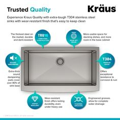 Kraus Stainless Steel Single Basin 16 Gauge Stainless Steel Kitchen Sink for Undermount Installations - Basin Rack and Basket Strainer Included Single Bowl Kitchen Sink, Farmhouse Sink Kitchen, Deep Sink, Rivage, Kitchen Sink Faucets, Kitchen Appliances, Kitchen Cabinets, Stainless Steel Kitchen, Keep It Cleaner