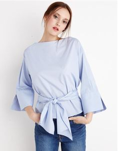 BLUE WAIST TIE SHIRT BY NEW REVIVAL