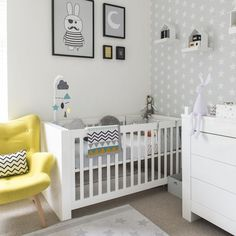 Love this grey and white nursery with that pop of yellow! Super cute! IH8