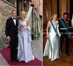 Crown Princess Mette-Marit of Norway recycling long gala dresses, part 1.