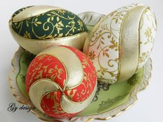 Golden Easter egg set , Easter decoration, quilted ornaments, ornament egg, kimekomi