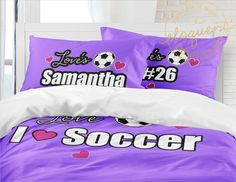 Soccer Duvet Cover - Personalized with name & Player Number - Kids Soccer Bedding Sets - for girls - King Queen/Full Twin xl #417 by EloquentInnovations on Etsy